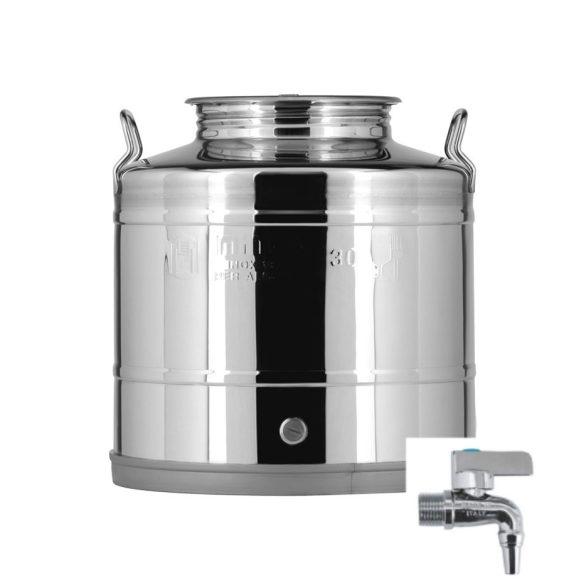 Rozsdamenetes acél 30 Literes erjesztő tartály csappal (inox)